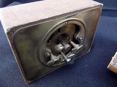 Art Deco Leather Travel Cased Brass Alarm Clock Duverdrey Bayard 6