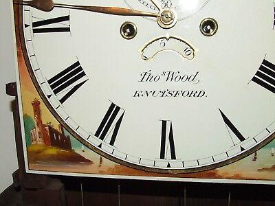 ~ Antique Oak & Mahogany Inlaid Grandfather Longcase Clock : WOOD KNUTSFORD 4