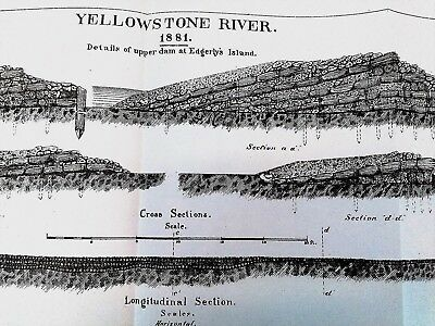 1882 Sketch Diagram of Yellowstone River Details Upper Dam at Edgerly's Island 2
