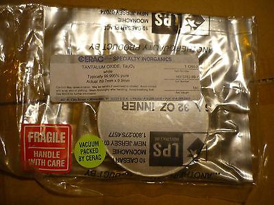 "Tantalum Oxide Ta2O5 white 99.995% pure 1lb 16oz  3.5"" round disc sealed Cerac"