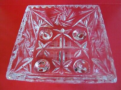Crystal Glass Bowl Dish 4 inch Square Footed Pinwheel Etched Stars Faceted Vtg 2