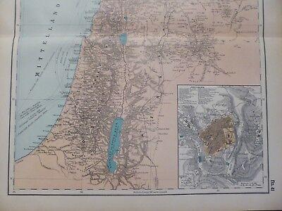 Landkarte von Palästina, Jerusalem, Beirut, Totes Meer, Otto Herkt um 1908