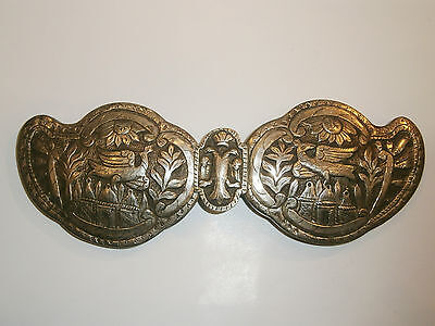 ANTIQUE OLD UNIQUE FOLKLORE SILVER BELT CLASP BUCKLE 19'c - Church /Bird /Sun 2