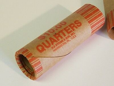 Pre-Crimped 1 End Shotgun Rolls $0.25 Quarters 250 Quarter Paper Coin Wrappers