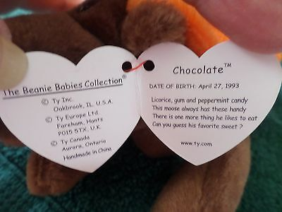 Mwmt Error Ty Beanie Baby Chocolate The Moose Pvc Pellets Mint With Mint Tag
