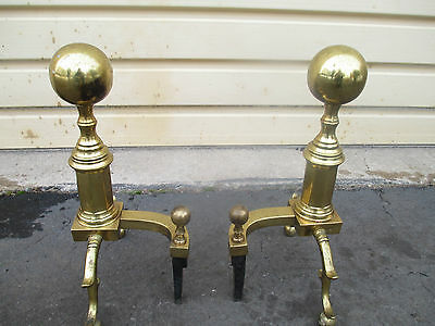 53293   Pair Brass Fireplcane Mantle Andirons  HARVIN 10