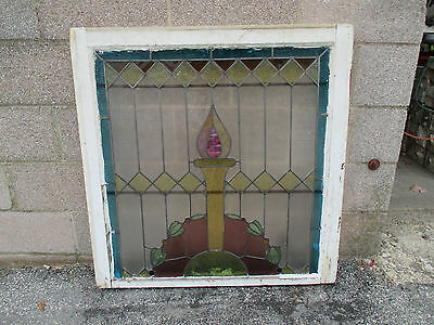 ~ ANTIQUE AMERICAN STAINED GLASS WINDOW ~ 34 x 35 ~ ARCHITECTURAL SALVAGE ~ 7