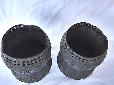 Pr.  18th/19th Century Persian Islamic Embossed Bronze Metal Vases/Urns 4
