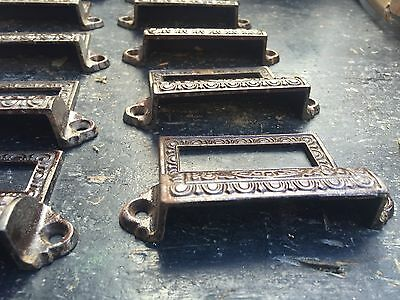 c1890 SET of 10 matching authentic VICTORIAN cabinet pull hardware 3 5/8 on hole 3