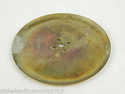 """Vtg NOS Polished BRASS Round Knob BACK PLATE 3-3/8"""" Diameter Concave E502-3 3"""