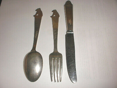 Vintage Norway Th Marthinsen Sterling Silver Youth 3Pc Set Spoon Fork Knife Bear 3