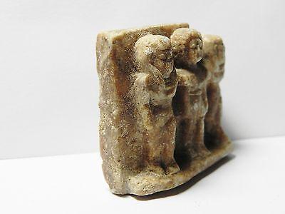 Zurqieh - Af26- Ancient Egypt. Triad Stone Plaque. Old Kingdom 3