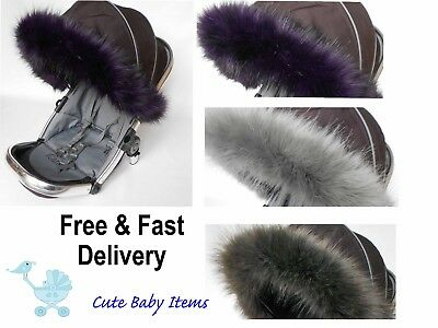 Hood fur trim for pushchair, pram  universal fit Quinny, Silver Cross, Icandy