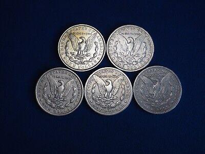 1878-1904 Morgan Silver Dollars F-VF (Fine-Very Fine) Pre-1921 Lot of 5 Coins 3