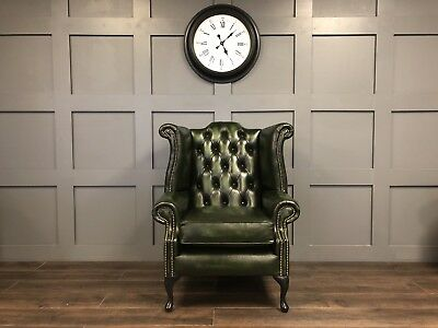 Chesterfield Queen Anne Antique Green Leather High Back Wing Chair 2