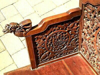-Chinese Anique Hand Carved Huan Ghuali Armchair Dragon Design*- 5