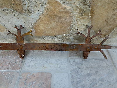 ANTIQUE 19th CENTURY Hand forged Wrough Iron Hook Hanger Old Fireplace Vintage 12