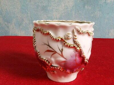 Victorian Mustache Style Cup Gold Raised Flowers Lace ANTIQUE 4