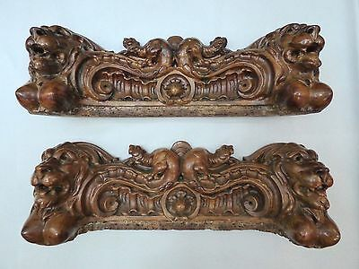 19C Gothic Fantasy Victorian Rococo Carved Cabinet Mount Winged Dragon/Lion 4