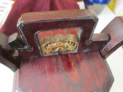 Antique Chinese Wedding Basket Hidden Wood Lock w/Gold Carved Figures Brass Band 5