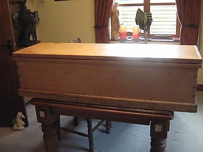 LOVELY VICTORIAN BEECH,OR BLEACHED MAHOGANY BLANKET/TOY BOX/CHEST 130 cm 5