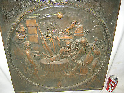 Antique Cast Iron Fireplace Cover Country Bronze Panel Music Art Plaque Monkey 7