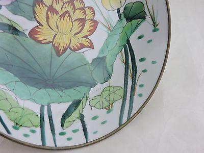 Vintage Asian Chinese Decorative Porcelainbrass Plate Lotus Flower