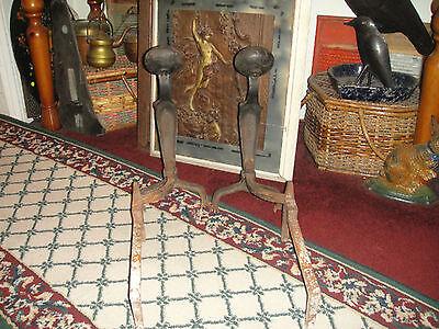 Antique Peerless Andirons-Cast Iron-3521-Resembles Rooster Running-Pair-LQQK 4