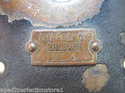 Old EMERGENCY RELEASE No 4 Mount Plate architectural button switch bronze brass 2