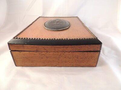 Caja Antigua De Madera De Roble Con Compartimentos 7