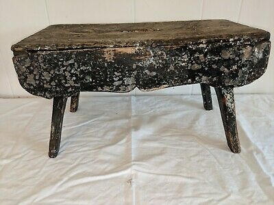 """ANTIQUE WOODEN MILKING STOOL LOTS OF PATINA 16"""" Long by 8"""" Wide by 9"""" Tall 4"""