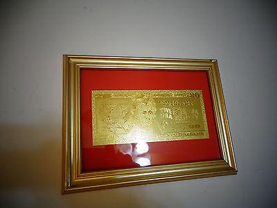 24 KARAT 99.9/% GOLD USA 2  DOLLAR BILL-FRAMED-GREEN SEAL-LIMITED PRODUCTION,RARE