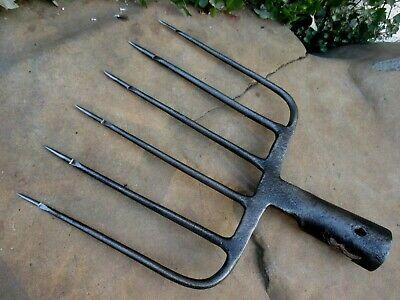 True Antique Handmade Carbon Steel Harpoon Spear Hunting Fishing Eel 5 Tines 10