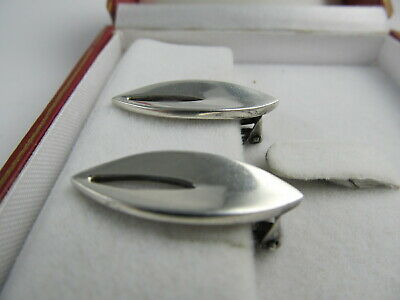 "Rua Denmark Clip Back Sterling Silver Attractive Earrings 1 1/8"" H Xlnt Cond 2"
