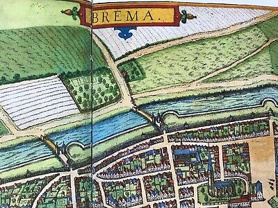 Old Antique Historic Map Bremen, Germany: 1598 Braun & Hogenberg REPRINT 1500's 3