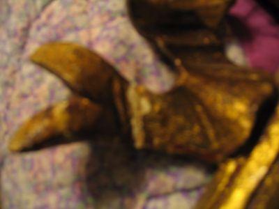 Vintage/Antique Lg Wood carved metal leaf gold gilt wall sconce L@@K 9