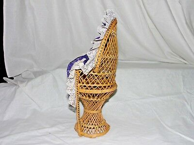 """Large 16"""" Peacock Style Wicker Rattan Chair Doll Furniture Purple & White Lace 3"""