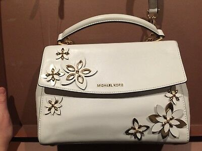 5449f00c2e2527 ... New Michael Kors Flowers Ava Small Leather Satchel white floral bag  metal art 3