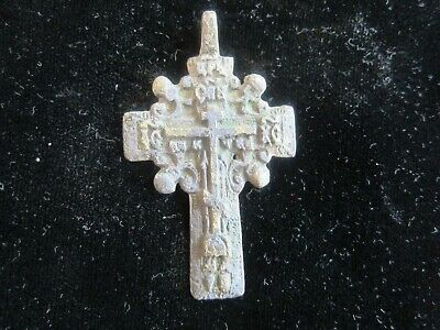 Approx-700 years old - AUTHENTIC LATE MEDIEVAL BRONZE CHRISTIAN CROSS PENDANT 2