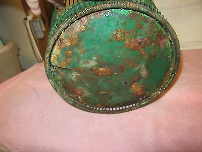 Antique Vintage Massillon Ohio Daisy Metal Wire Green Wastebasket - NEAT 6