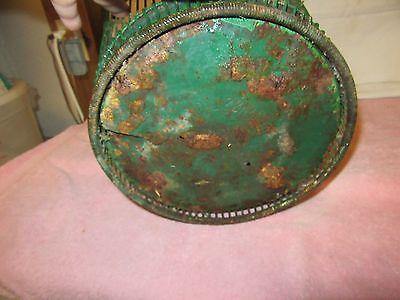 Antique Vintage Massillon Ohio Daisy Metal Wire Green Wastebasket - NEAT 6
