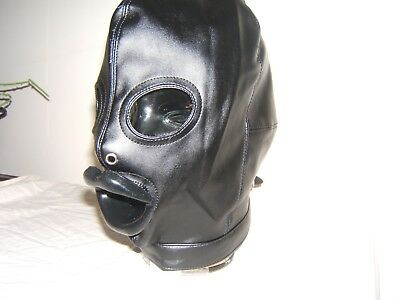 Black leather Gimp mask with Latex sissy lips in Red, Black or Pink Size M 6