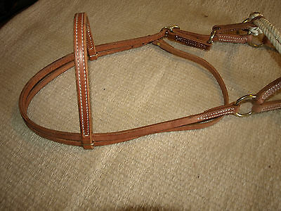 Western harness leather double rope side pull USA natural custom cowboy  H4005 8