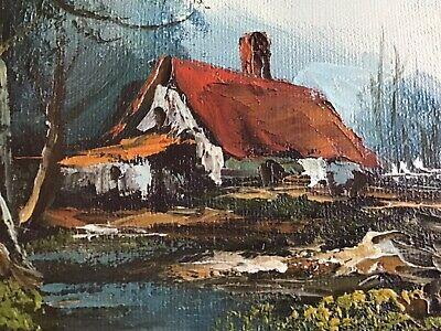 Vintage European oil on canvas painting, house near river 3