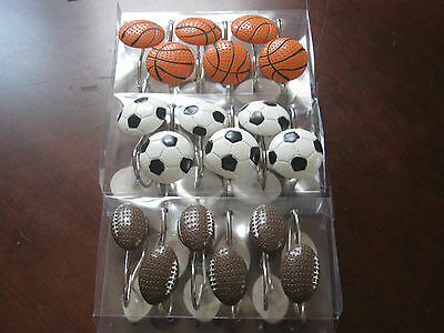 1 Of 5free Shipping Sport Shower Curtain Hook Basketball Football Soccer
