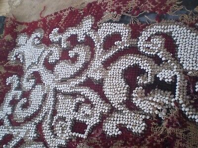 Antiques  RARE OLD unique MOTIF of beads EMBROIDERED 6