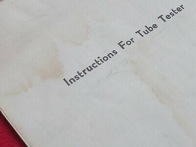 Manual tube tester TC-2 / Tube chart TC-2 / Model tc-2 tube chart Instructions 7