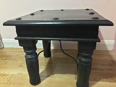 BRAND NEW MANGO WOOD  STOOL Coffee Tea Side End Table metal bolts & Metal  Wood 3