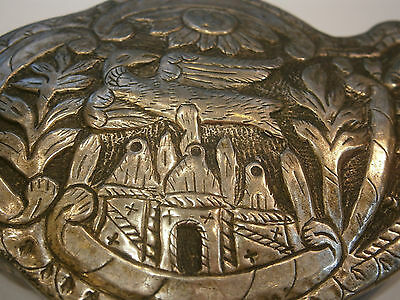 ANTIQUE OLD UNIQUE FOLKLORE SILVER BELT CLASP BUCKLE 19'c - Church /Bird /Sun 7