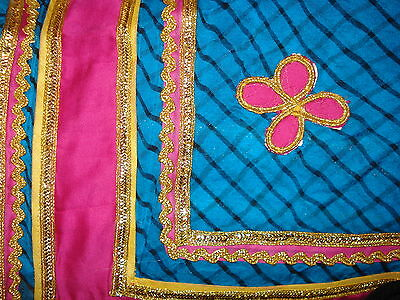 Ladies / Girls Striped Chiffon Saree With Contrasting Border And Blouse 2